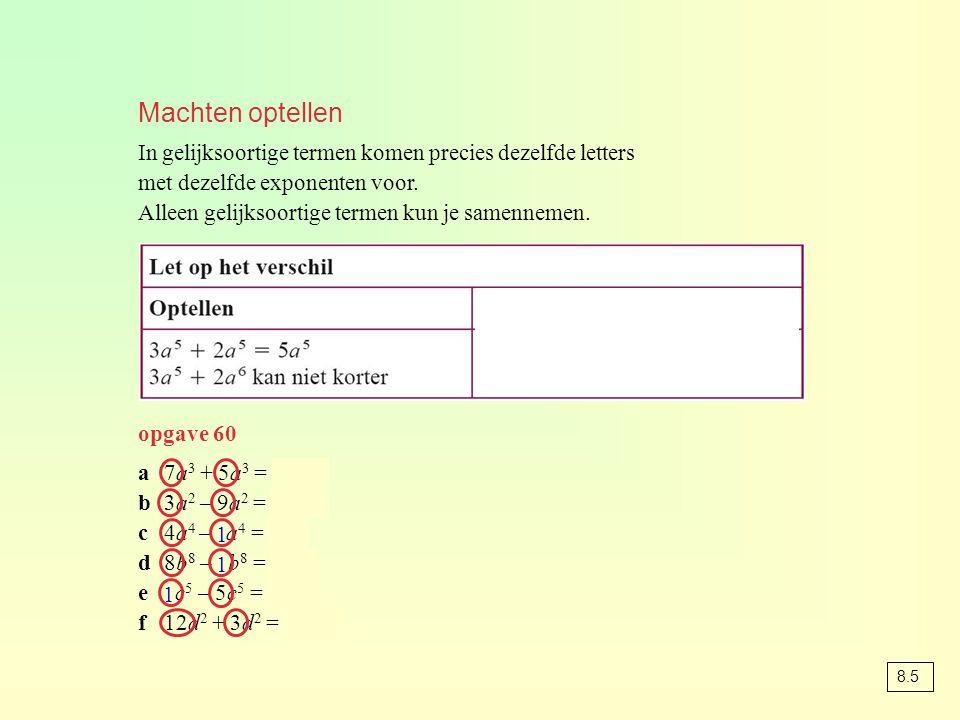 Machten optellen In gelijksoortige termen komen precies dezelfde letters met dezelfde exponenten voor.