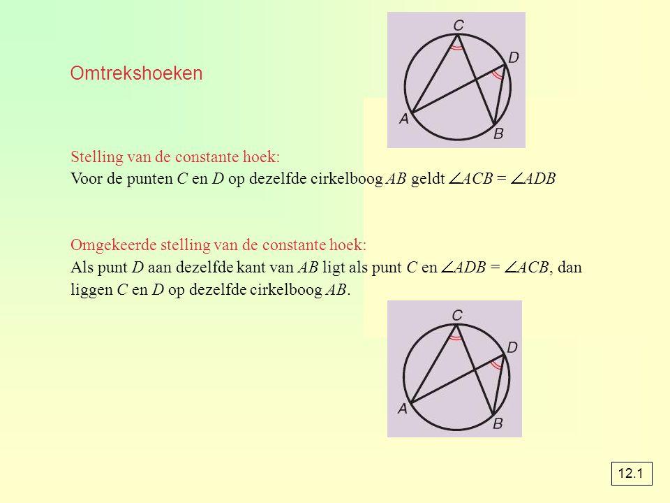Omtrekshoeken Stelling van de constante hoek: Voor de punten C en D op dezelfde cirkelboog AB geldt  ACB =  ADB Omgekeerde stelling van de constante hoek: Als punt D aan dezelfde kant van AB ligt als punt C en  ADB =  ACB, dan liggen C en D op dezelfde cirkelboog AB.