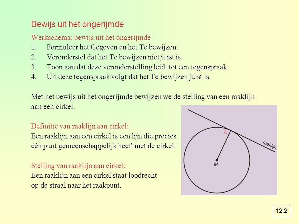Bewijs uit het ongerijmde Werkschema: bewijs uit het ongerijmde 1.Formuleer het Gegeven en het Te bewijzen.