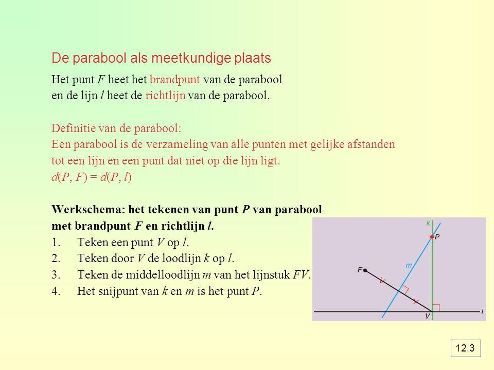 De parabool als meetkundige plaats Het punt F heet het brandpunt van de parabool en de lijn l heet de richtlijn van de parabool.