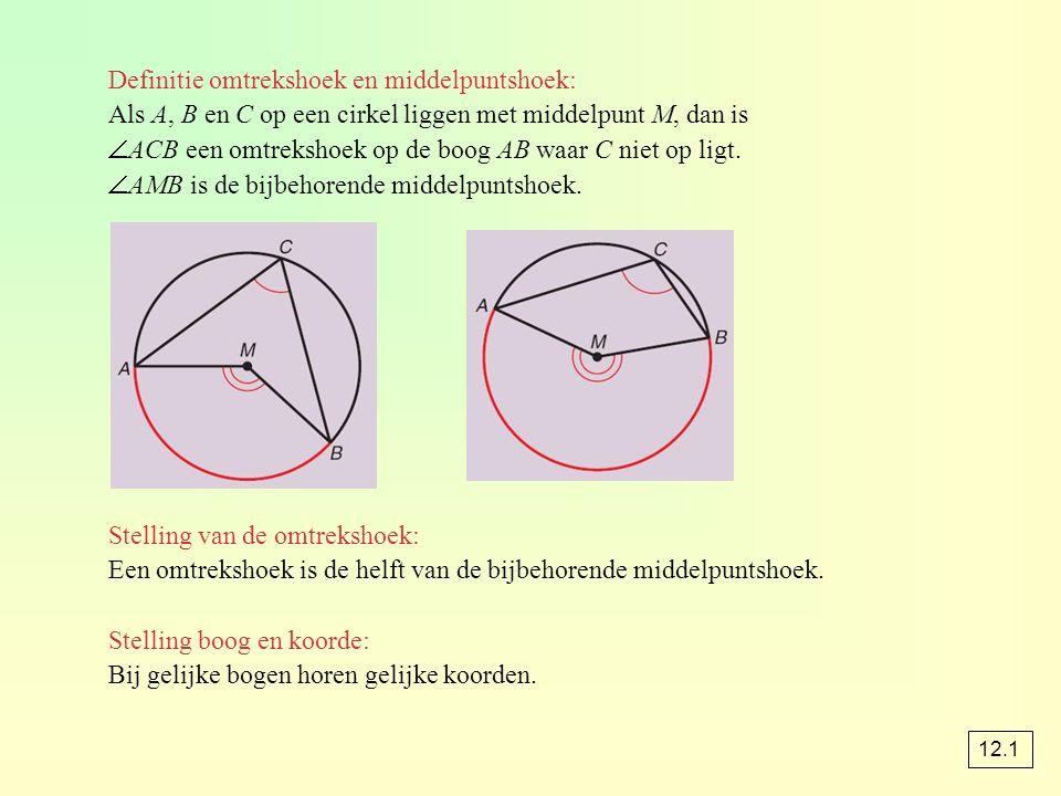 Definitie omtrekshoek en middelpuntshoek: Als A, B en C op een cirkel liggen met middelpunt M, dan is  ACB een omtrekshoek op de boog AB waar C niet op ligt.