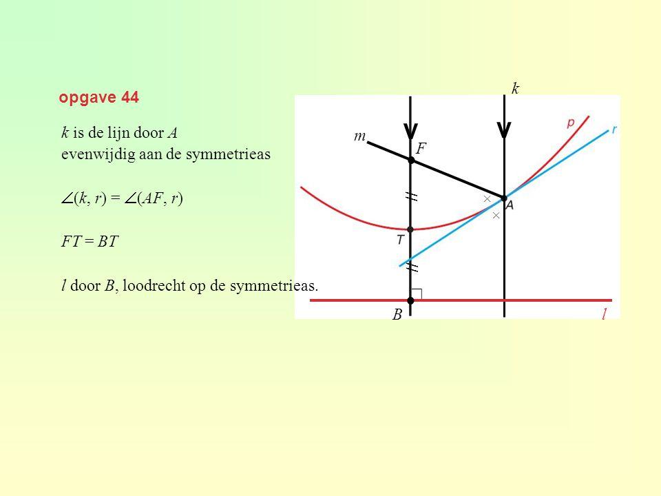 opgave 44 k is de lijn door A evenwijdig aan de symmetrieas  (k, r) =  (AF, r) FT = BT l door B, loodrecht op de symmetrieas. V V k × × ● F m // l B