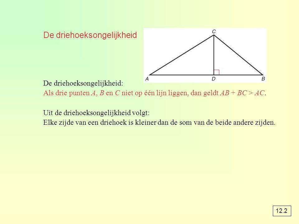 De driehoeksongelijkheid De driehoeksongelijkheid: Als drie punten A, B en C niet op één lijn liggen, dan geldt AB + BC > AC. Uit de driehoeksongelijk