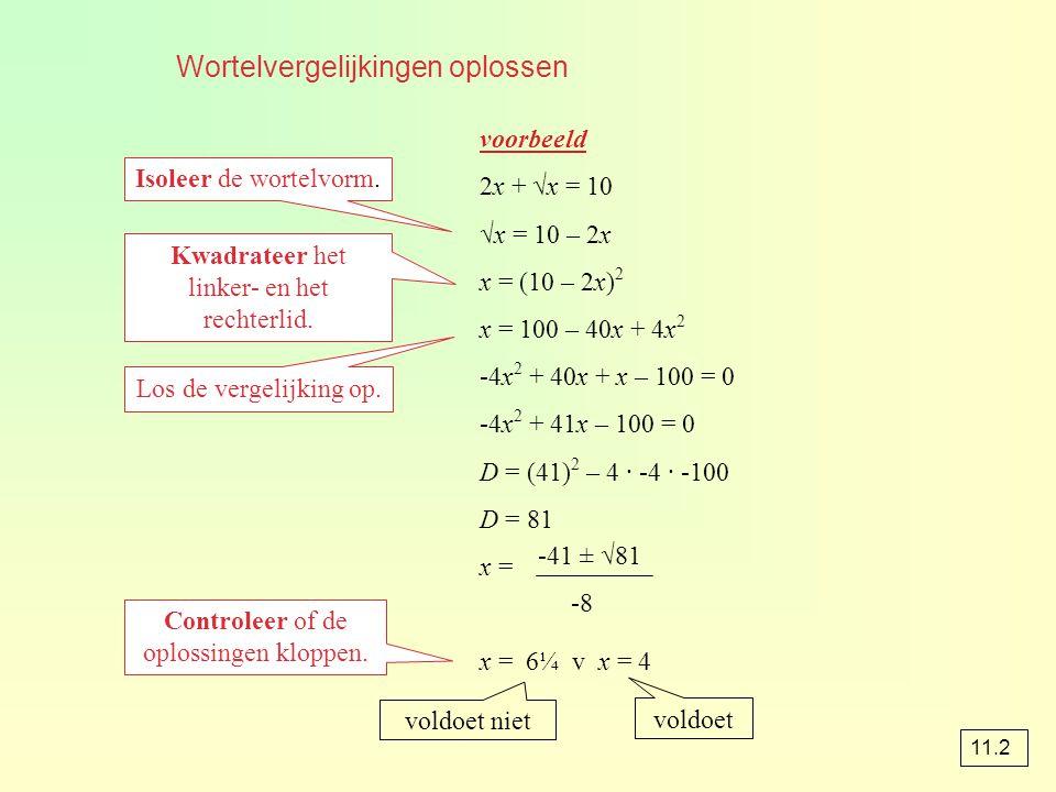Wortelvergelijkingen oplossen voorbeeld 2x + √x = 10 √x = 10 – 2x x = (10 – 2x) 2 x = 100 – 40x + 4x 2 -4x 2 + 40x + x – 100 = 0 -4x 2 + 41x – 100 = 0