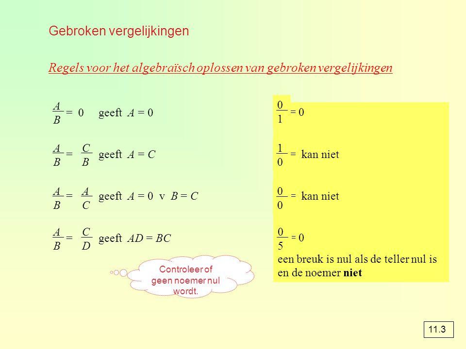 Gebroken vergelijkingen Regels voor het algebraïsch oplossen van gebroken vergelijkingen = 0 geeft A = 0 = geeft A = C = geeft A = 0 v B = C = geeft A