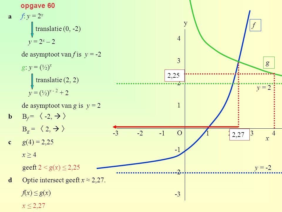 opgave 60 f: y = 2 x translatie (0, -2) y = 2 x – 2 de asymptoot van f is y = -2 g: y = (½) x translatie (2, 2) y = (½) x - 2 + 2 de asymptoot van g i