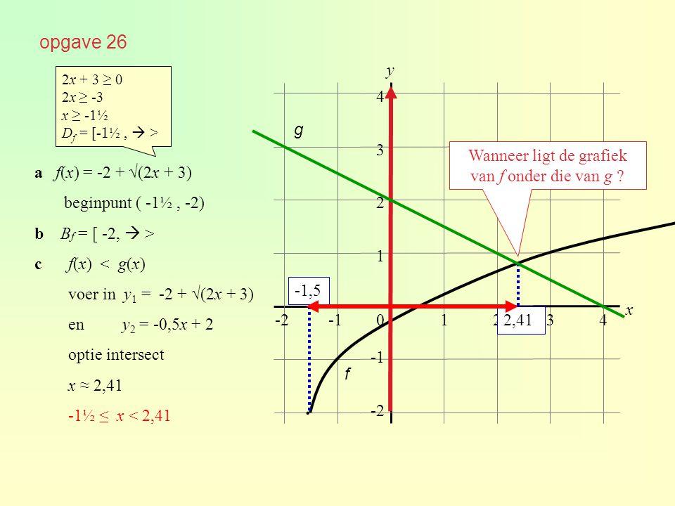 opgave 26 01234 1 2 3 4 y x -2 ∙ ∙ a f(x) = -2 + √(2x + 3) beginpunt ( -1½, -2) b B f = [ -2,  > cf(x) < g(x) voer in y 1 = -2 + √(2x + 3) en y 2 = -