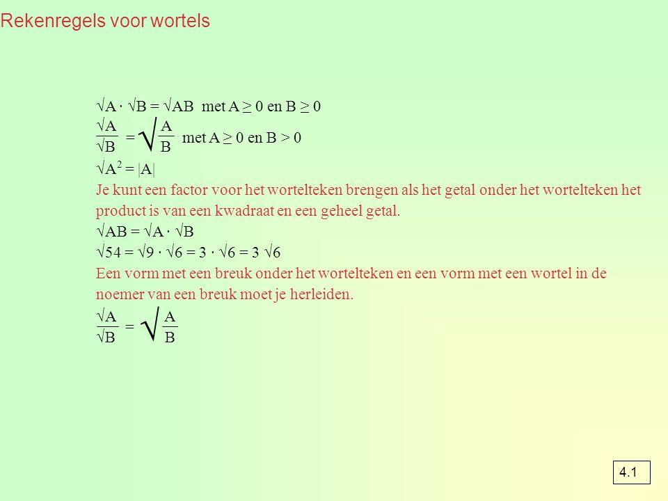 = = met A ≥ 0 en B > 0 Rekenregels voor wortels √A · √B = √AB met A ≥ 0 en B ≥ 0 √A 2 = |A| Je kunt een factor voor het wortelteken brengen als het getal onder het wortelteken het product is van een kwadraat en een geheel getal.