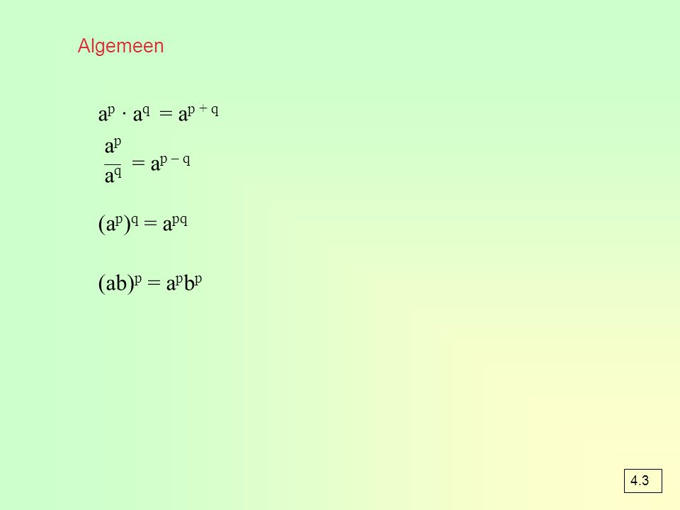 Rekenregels van machten a 4 = a · a · a · a a 2 · a 3 = a · a · a · a · a = a 5 = = a 2 (a 2 ) 3 = a 2 · a 2 · a 2 = a 6 (ab) 3 = ab · ab · ab = a 3 b