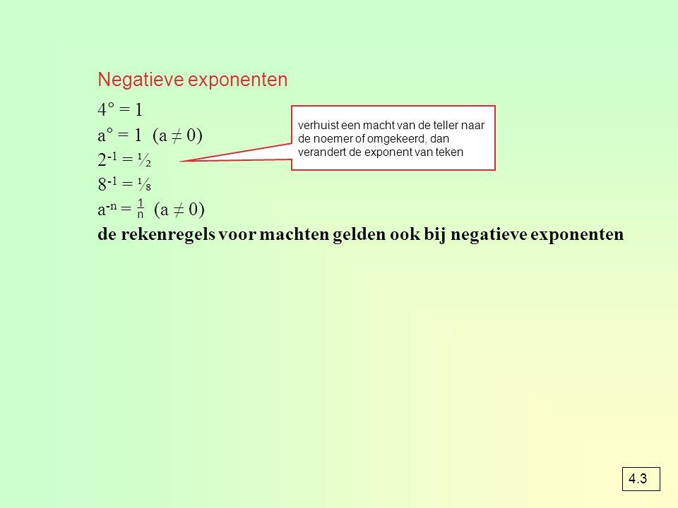 Negatieve exponenten 4° = 1 a° = 1 (a ≠ 0) 2 -1 = ½ 8 -1 = ⅛ a -n =  (a ≠ 0) de rekenregels voor machten gelden ook bij negatieve exponenten verhuist een macht van de teller naar de noemer of omgekeerd, dan verandert de exponent van teken 4.3