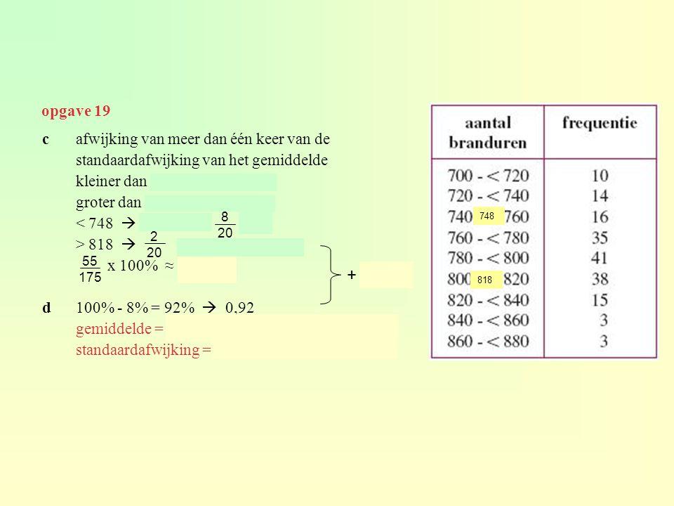 cafwijking van meer dan één keer van de standaardafwijking van het gemiddelde kleiner dan 783 – 35 = 748 groter dan 783 + 35 = 818 < 748  10 + 14 +.