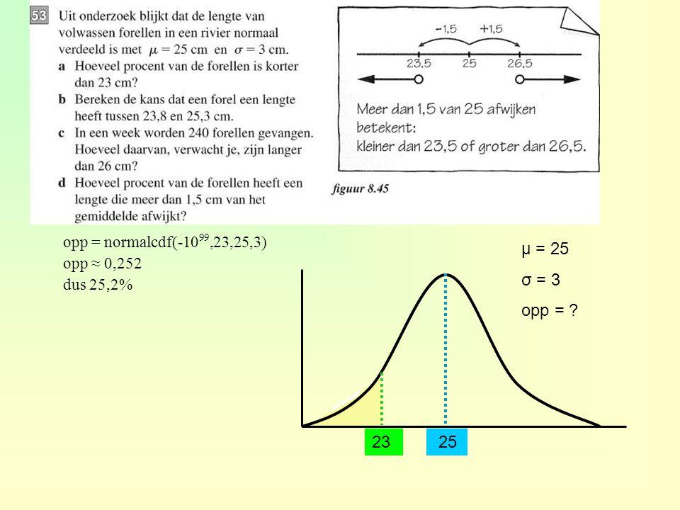 2523 μ = 25 σ = 3 opp = ? opp = normalcdf(-10 99,23,25,3) opp ≈ 0,252 dus 25,2%