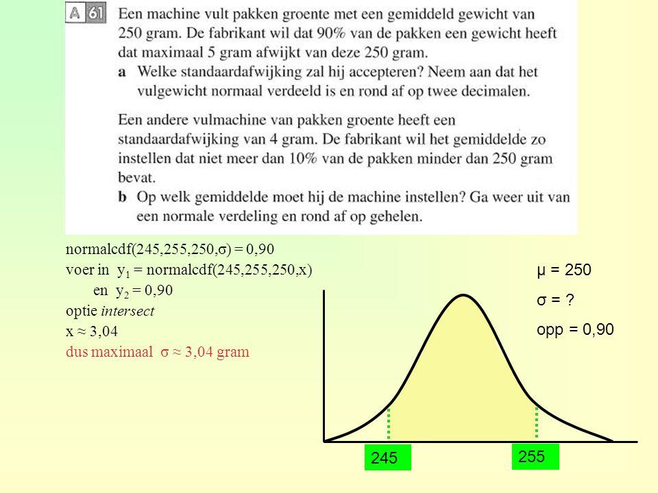 μ = 250 σ = ? opp = 0,90 TI normalcdf(245,255,250,σ) = 0,90 voer in y 1 = normalcdf(245,255,250,x) en y 2 = 0,90 optie intersect x ≈ 3,04 dus maximaal