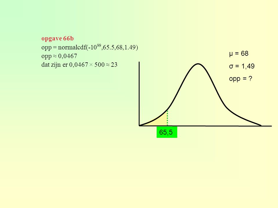 μ = 68 σ = 1,49 opp = ? opp = normalcdf(-10 99,65.5,68,1.49) opp ≈ 0,0467 dat zijn er 0,0467 × 500 ≈ 23 65,5 opgave 66b