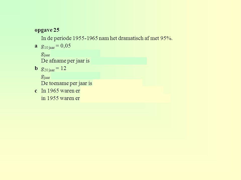 In de periode 1955-1965 nam het dramatisch af met 95%. ag 10 jaar = 0,05 g jaar = 0,05 (1/10) ≈ 0,741 De afname per jaar is 100 – 74,1 = 25,9%. bg 20