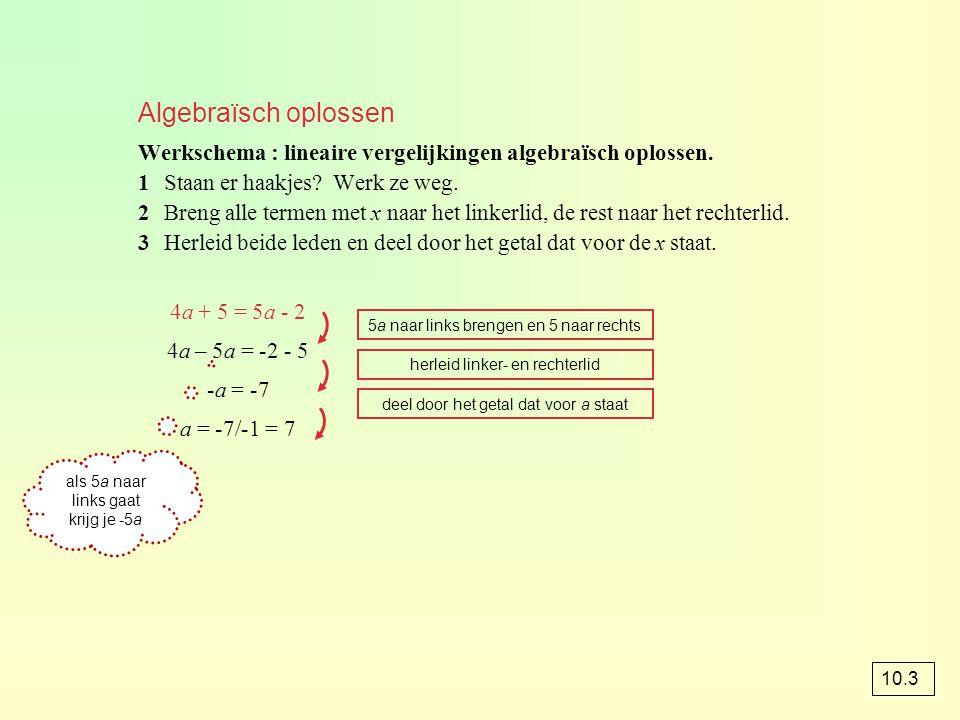Algebraïsch oplossen Werkschema : lineaire vergelijkingen algebraïsch oplossen. 1Staan er haakjes? Werk ze weg. 2Breng alle termen met x naar het link