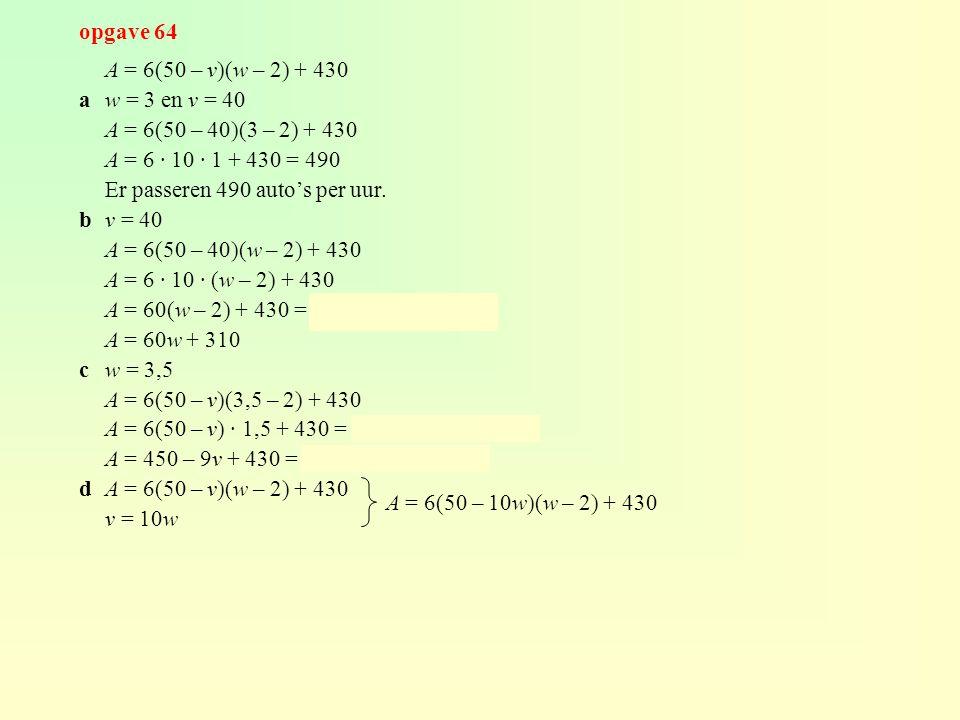 opgave 64 A = 6(50 – v)(w – 2) + 430 aw = 3 en v = 40 A = 6(50 – 40)(3 – 2) + 430 A = 6 · 10 · 1 + 430 = 490 Er passeren 490 auto's per uur. bv = 40 A