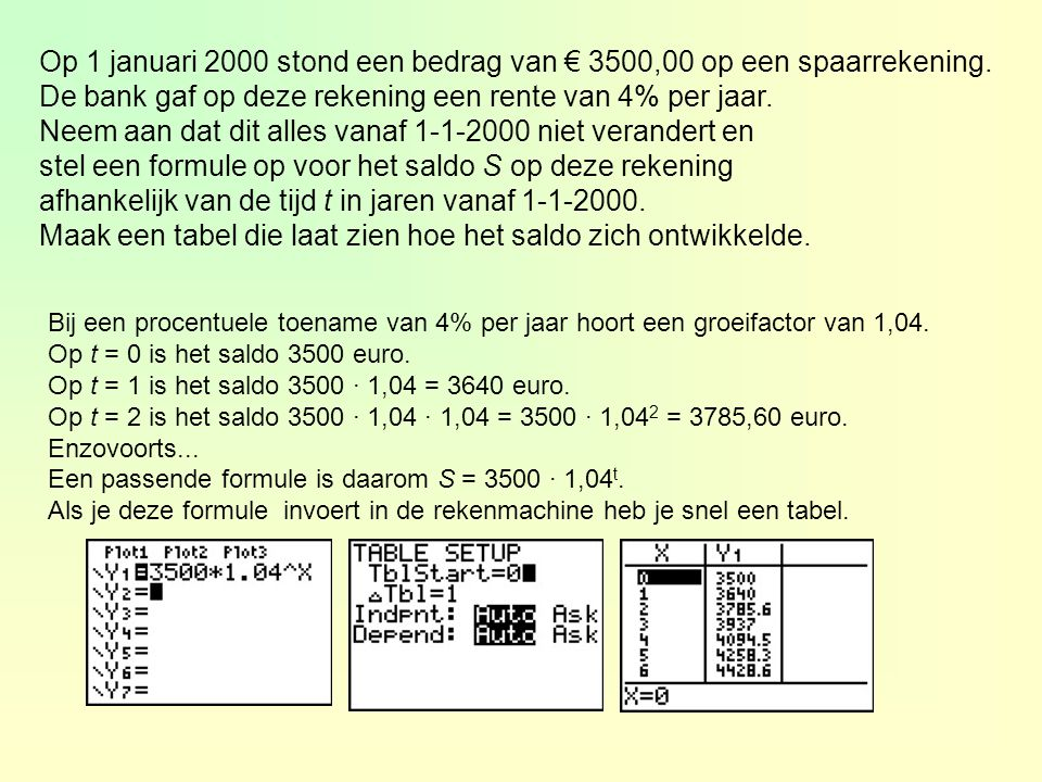Op 1 januari 2000 stond een bedrag van € 3500,00 op een spaarrekening. De bank gaf op deze rekening een rente van 4% per jaar. Neem aan dat dit alles