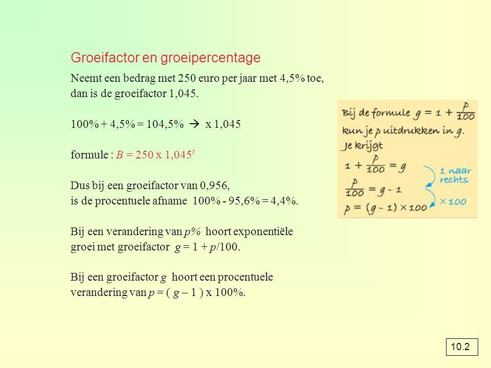 Groeifactor en groeipercentage Neemt een bedrag met 250 euro per jaar met 4,5% toe, dan is de groeifactor 1,045. 100% + 4,5% = 104,5%  x 1,045 formul