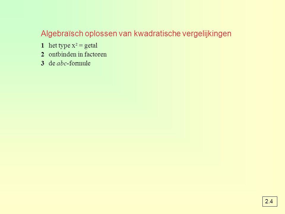 Algebraïsch oplossen van kwadratische vergelijkingen 1het type x² = getal 2ontbinden in factoren 3de abc-formule 2.4