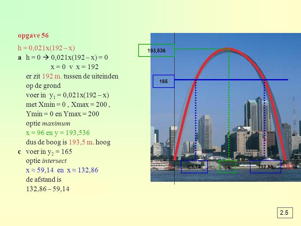 opgave 56 h = 0,021x(192 – x) ah = 0  0,021x(192 – x) = 0 x = 0 v x = 192 er zit 192 m. tussen de uiteinden op de grond voer in y 1 = 0,021x(192 – x)