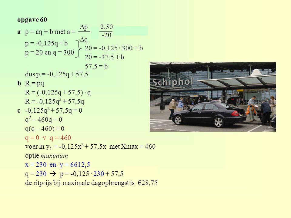 opgave 60 ap = aq + b met a = = = -0,125 p = -0,125q + b p = 20 en q = 300 dus p = -0,125q + 57,5 bR = pq R = (-0,125q + 57,5) · q R = -0,125q 2 + 57,5q c-0,125q 2 + 57,5q = 0 q 2 – 460q = 0 q(q – 460) = 0 q = 0 v q = 460 voer in y 1 = -0,125x 2 + 57,5x met Xmax = 460 optie maximum x = 230 en y = 6612,5 q = 230  p = -0,125 · 230 + 57,5 = 28,75 de ritprijs bij maximale dagopbrengst is €28,75 20 = -0,125 · 300 + b 20 = -37,5 + b 57,5 = b ∆p ∆q 2,50 -20