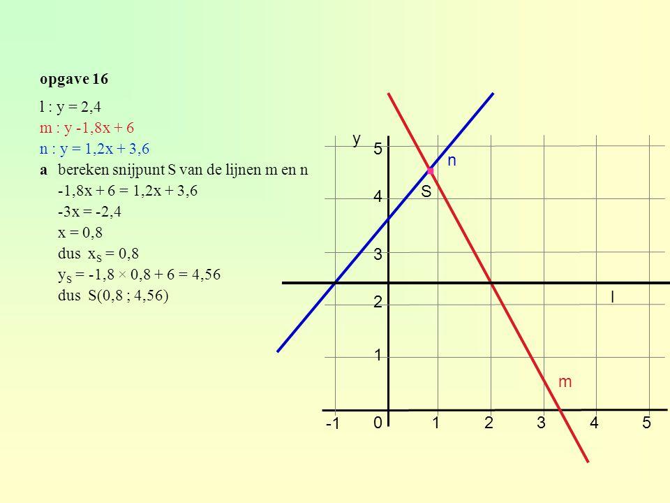 opgave 16 l : y = 2,4 m : y -1,8x + 6 n : y = 1,2x + 3,6 abereken snijpunt S van de lijnen m en n -1,8x + 6 = 1,2x + 3,6 -3x = -2,4 x = 0,8 dus x S = 0,8 y S = -1,8 × 0,8 + 6 = 4,56 dus S(0,8 ; 4,56) 4 5 012345 2 1 3 y m n l S ·