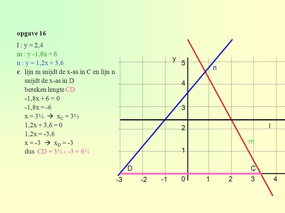 opgave 16 l : y = 2,4 m : y -1,8x + 6 n : y = 1,2x + 3,6 clijn m snijdt de x-as in C en lijn n snijdt de x-as in D bereken lengte CD -1,8x + 6 = 0 -1,