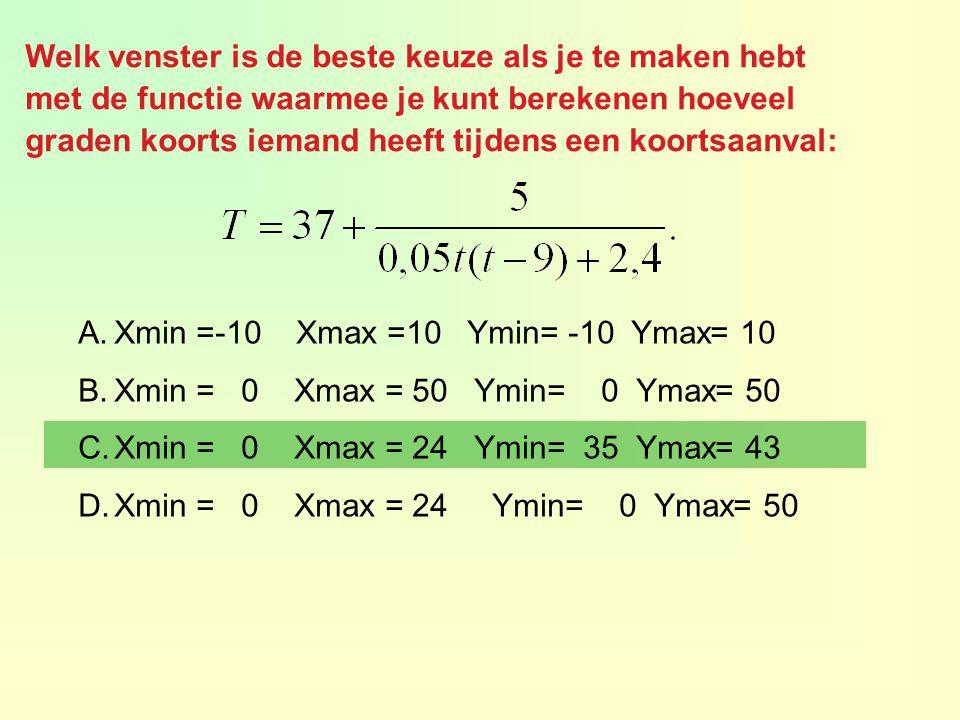 Welk venster is de beste keuze als je te maken hebt met de functie waarmee je kunt berekenen hoeveel graden koorts iemand heeft tijdens een koortsaanval: A.Xmin =-10 Xmax =10 Ymin= -10 Ymax= 10 B.Xmin = 0 Xmax = 50 Ymin= 0 Ymax= 50 C.Xmin = 0 Xmax = 24 Ymin= 35 Ymax= 43 D.Xmin = 0 Xmax = 24 Ymin= 0 Ymax= 50