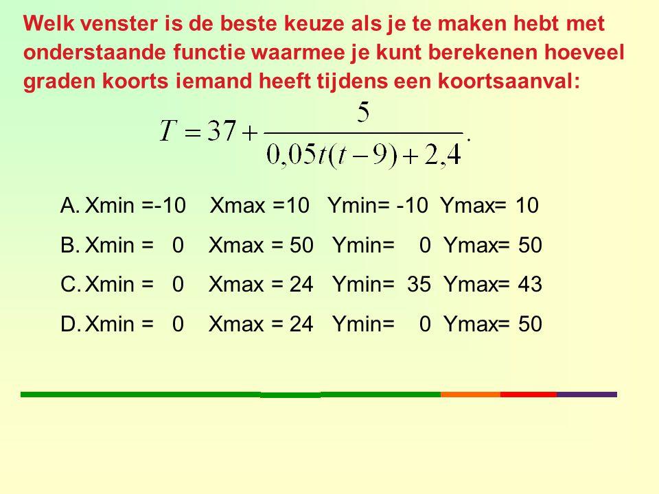 Welk venster is de beste keuze als je te maken hebt met onderstaande functie waarmee je kunt berekenen hoeveel graden koorts iemand heeft tijdens een koortsaanval: A.Xmin =-10 Xmax =10 Ymin= -10 Ymax= 10 B.Xmin = 0 Xmax = 50 Ymin= 0 Ymax= 50 C.Xmin = 0 Xmax = 24 Ymin= 35 Ymax= 43 D.Xmin = 0 Xmax = 24 Ymin= 0 Ymax= 50