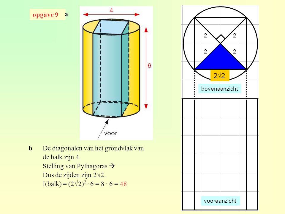 opgave 41 I(piramide)  I(deel van de piramide binnen de kubus) dus k 3 = ¼ k = 3 √¼ = 0,63 h(deel buiten de kubus) = x h(hele piramide) = x + 10 h(deel buiten de kubus) ≈ 0,63 · h(hele piramide) 10 ≈ 0,63(x + 10) 10 ≈ 0,63x + 6,3 3,7 ≈ 0,63x x ≈ 5,9 h(piramide) ≈ 10 + 5,9 ≈ 15,9 × k 3 x 10.4