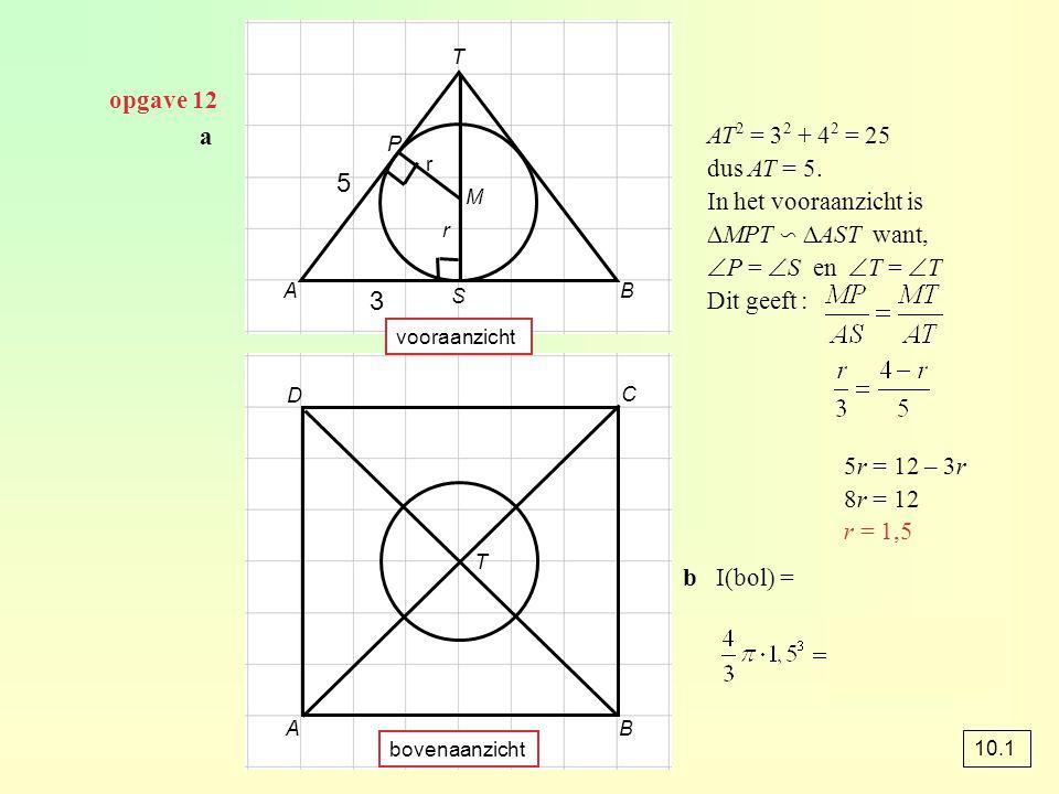 opgave 42 I(kegel)  I(deel van de kegel buiten de kubus) dus k 3 = k = 3 √ ≈ 0,58 h(deel buiten de kubus) = x h(hele kegel) = x + 6 h(deel buiten de kubus) ≈ 0,58 · h(hele kegel) x ≈ 0,58(x + 6) x ≈ 0,58x + 3,51 0,42x ≈ 3,51 x ≈ 8,45 h(kegel) ≈ 8,45 + 6 ≈ 14,45 × k 3 x