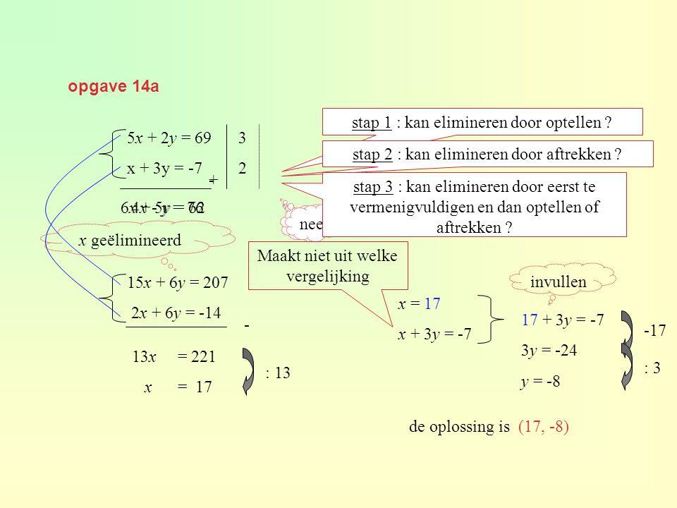 opgave 14a 5x + 2y = 69 x + 3y = -7 stap 1 : kan elimineren door optellen .