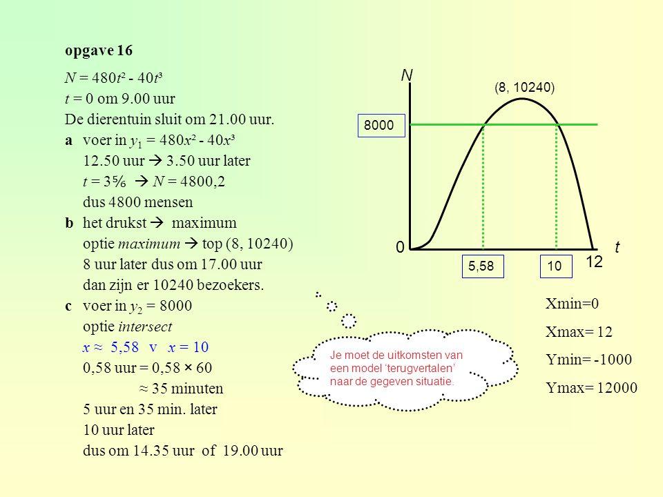 opgave 16 N = 480t² - 40t³ t = 0 om 9.00 uur De dierentuin sluit om 21.00 uur.