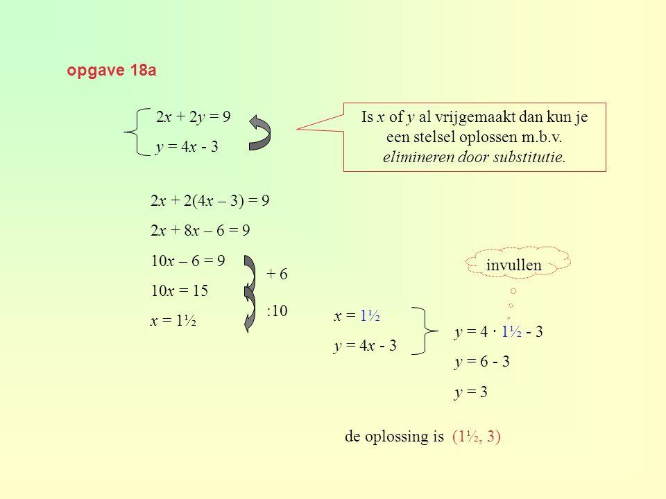 opgave 18a Is x of y al vrijgemaakt dan kun je een stelsel oplossen m.b.v.