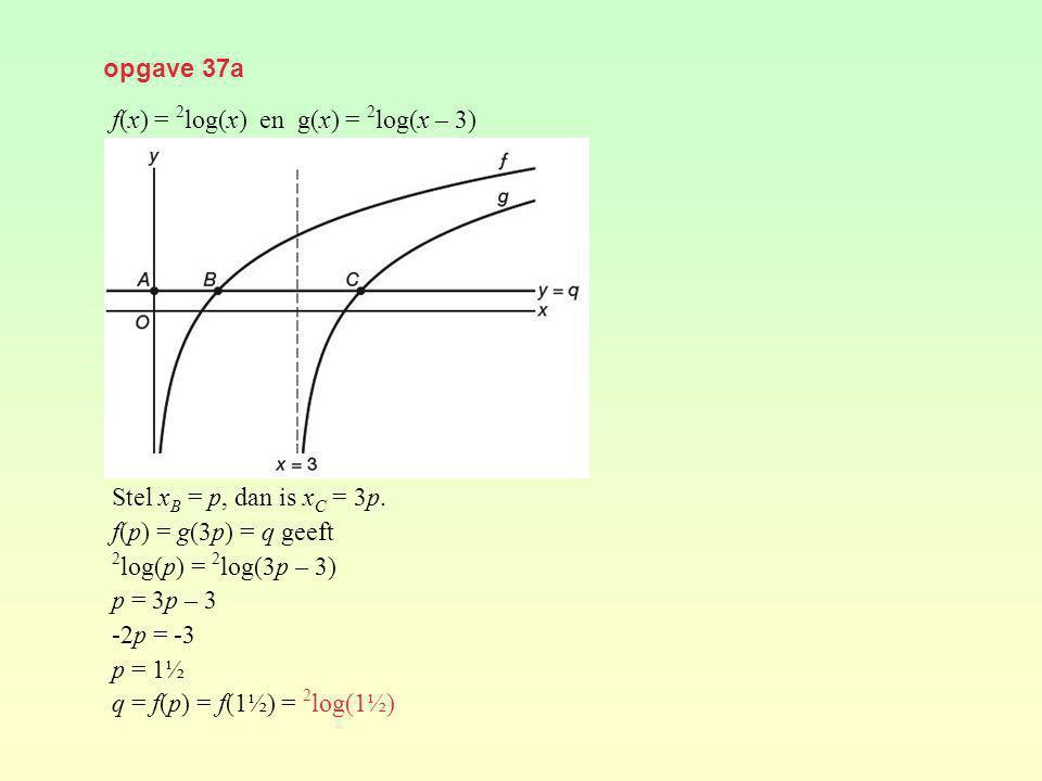 opgave 37a f(x) = 2 log(x) en g(x) = 2 log(x – 3) Stel x B = p, dan is x C = 3p. f(p) = g(3p) = q geeft 2 log(p) = 2 log(3p – 3) p = 3p – 3 -2p = -3 p
