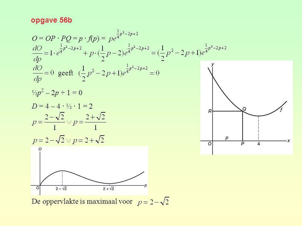 opgave 56b O = OP · PQ = p · f(p) = ½p 2 – 2p + 1 = 0 D = 4 – 4 · ½ · 1 = 2 De oppervlakte is maximaal voor geeft