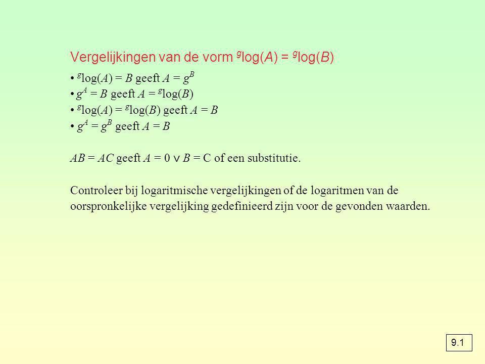 Vergelijkingen van de vorm g log(A) = g log(B) g log(A) = B geeft A = g B g A = B geeft A = g log(B) g log(A) = g log(B) geeft A = B g A = g B geeft A