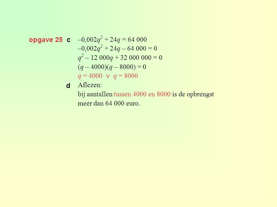 opgave 25 c –0,002q 2 + 24q = 64 000 –0,002q 2 + 24q – 64 000 = 0 q 2 – 12 000q + 32 000 000 = 0 (q – 4000)(q – 8000) = 0 q = 4000 ⋁ q = 8000 Aflezen: bij aantallen tussen 4000 en 8000 is de opbrengst meer dan 64 000 euro.
