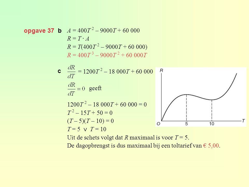 opgave 37 b A = 400T 2 – 9000T + 60 000 R = T · A R = T(400T 2 – 9000T + 60 000) R = 400T 3 – 9000T 2 + 60 000T = 1200T 2 – 18 000T + 60 000 geeft 1200T 2 – 18 000T + 60 000 = 0 T 2 – 15T + 50 = 0 (T – 5)(T – 10) = 0 T = 5 ⋁ T = 10 Uit de schets volgt dat R maximaal is voor T = 5.