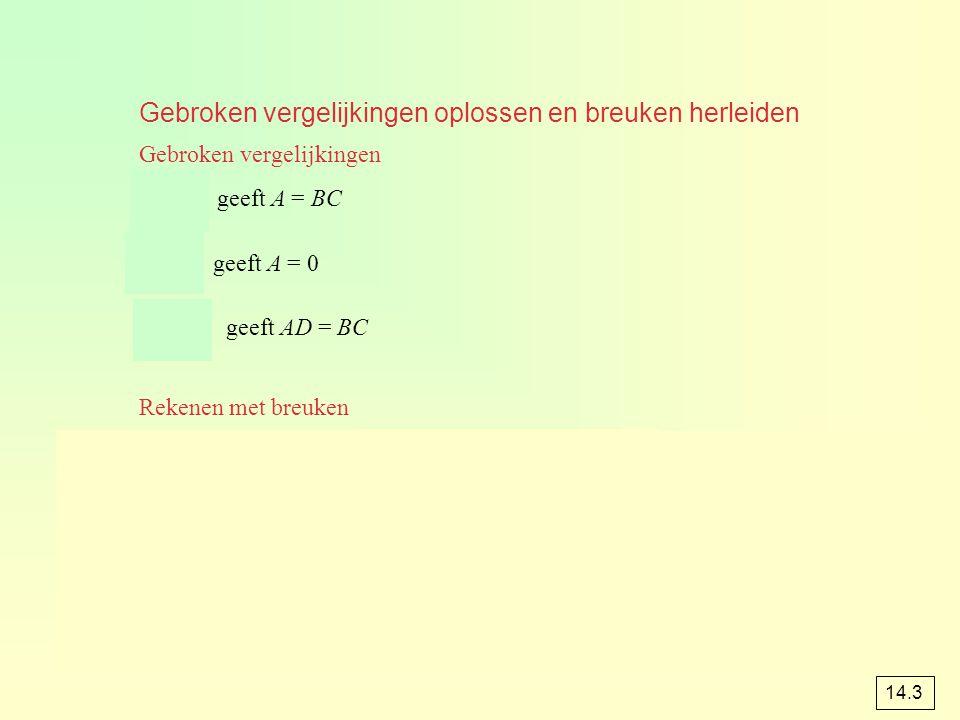 Gebroken vergelijkingen oplossen en breuken herleiden Gebroken vergelijkingen Rekenen met breuken geeft A = BC geeft A = 0 geeft AD = BC 14.3