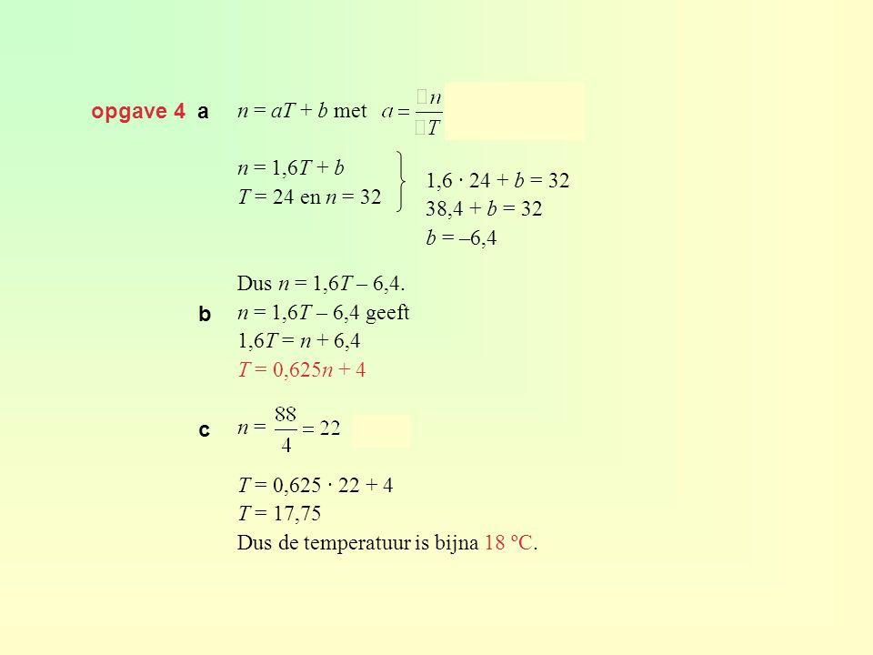 opgave 4 a n = aT + b met n = 1,6T + b T = 24 en n = 32 Dus n = 1,6T – 6,4. n = 1,6T – 6,4 geeft 1,6T = n + 6,4 T = 0,625n + 4 n = geeft T = 0,625 · 2