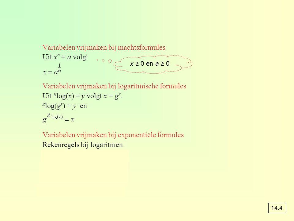 Variabelen vrijmaken bij machtsformules Uit x n = a volgt Variabelen vrijmaken bij logaritmische formules Uit g log(x) = y volgt x = g y. g log(g y )