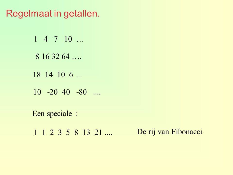 Regelmaat in getallen. 1 4 7 10 … 8 16 32 64 …. 18 14 10 6 … -20 40 -80.... Een speciale : 1 1 2 3 5 8 13 21.... De rij van Fibonacci