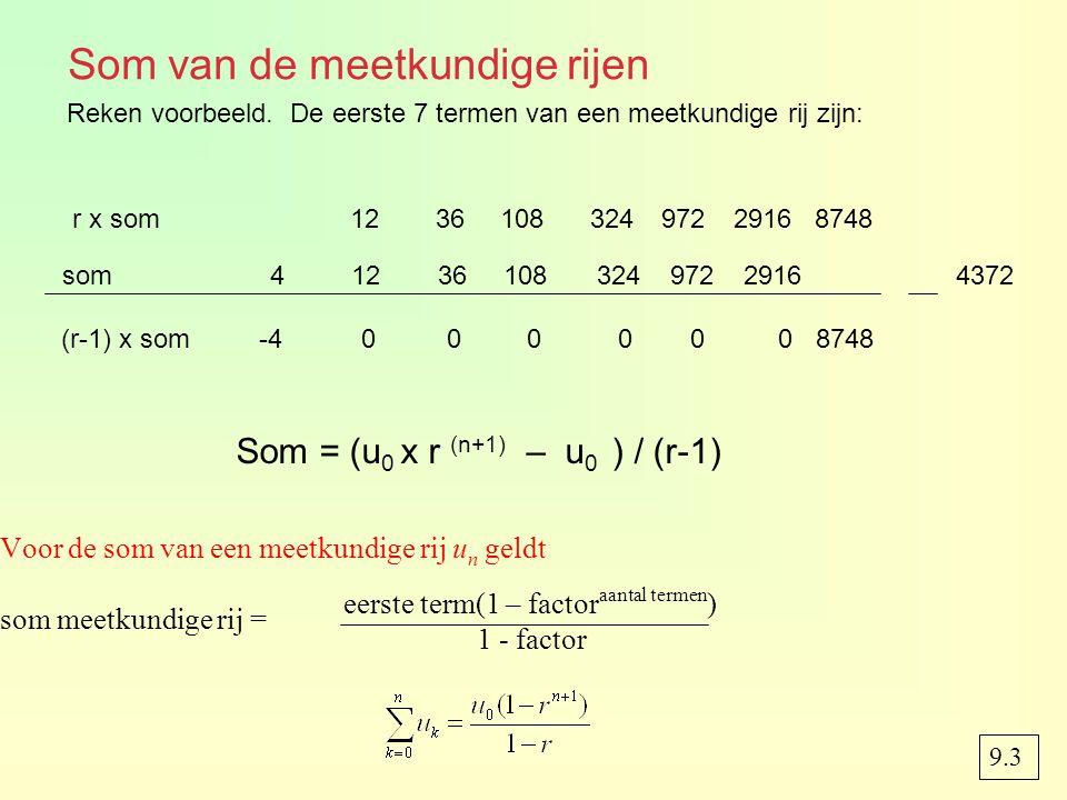 Som van de meetkundige rijen Voor de som van een meetkundige rij u n geldt som meetkundige rij = r x som123610832497229168748 eerste term(1 – factor a