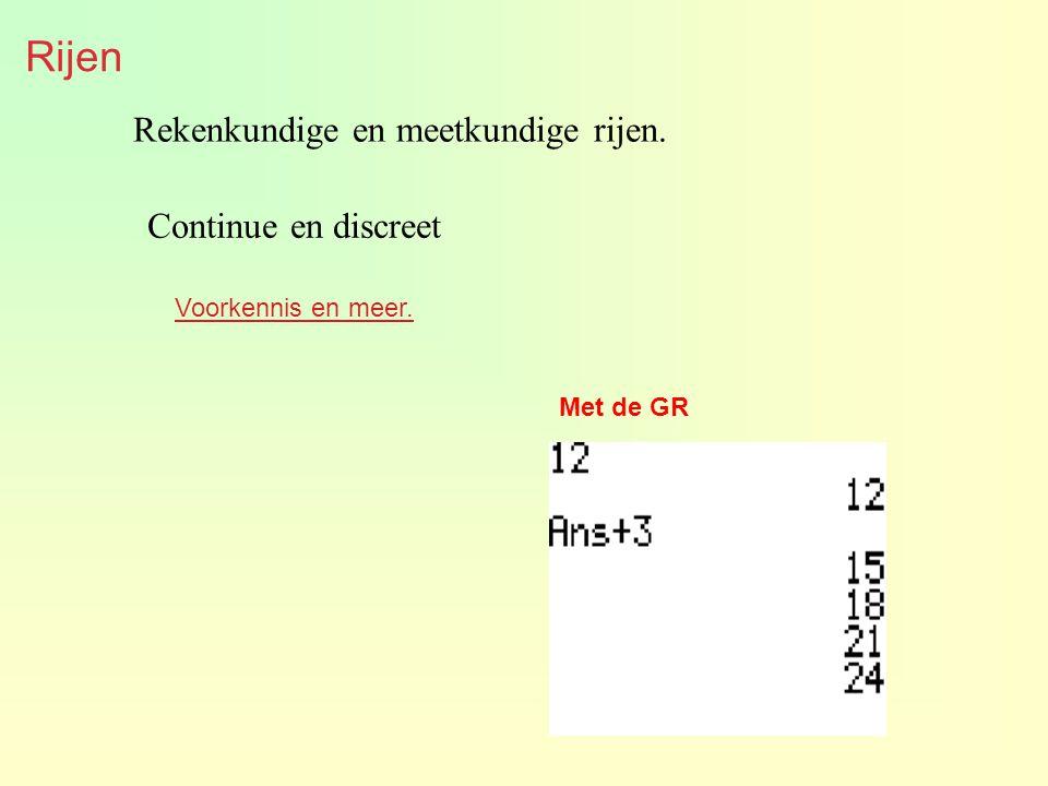 Rijen Rekenkundige en meetkundige rijen. Voorkennis en meer. Met de GR Continue en discreet