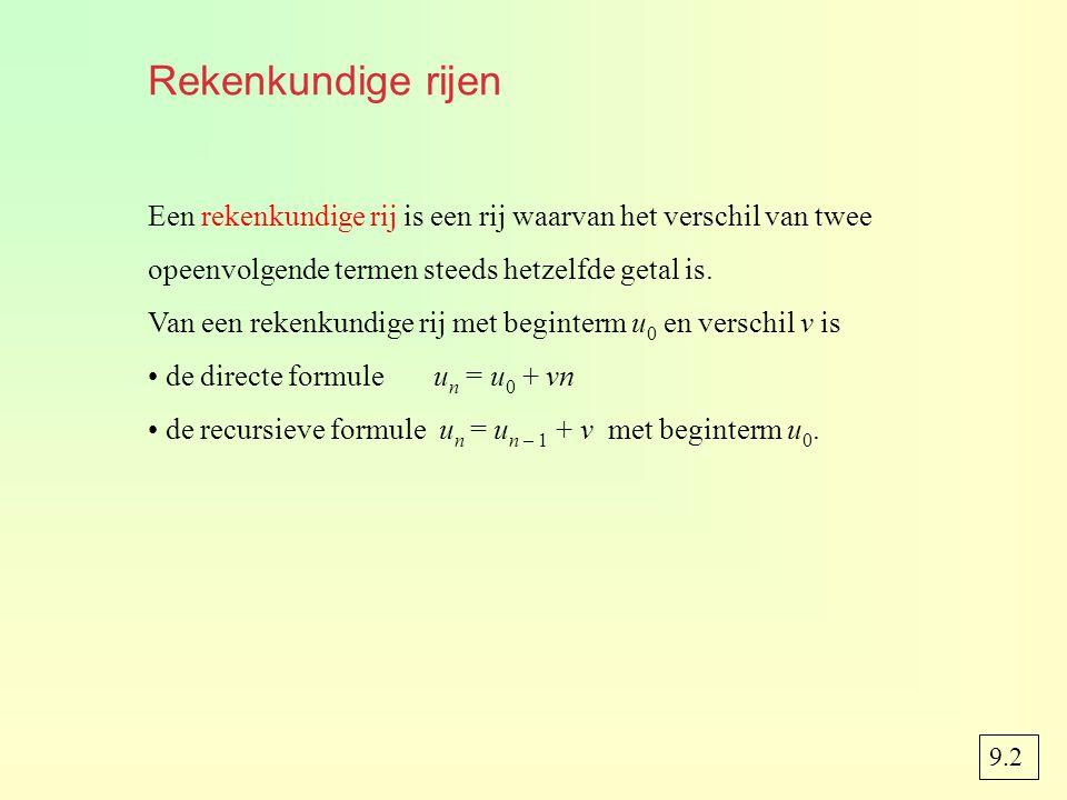 Rekenkundige rijen Een rekenkundige rij is een rij waarvan het verschil van twee opeenvolgende termen steeds hetzelfde getal is. Van een rekenkundige