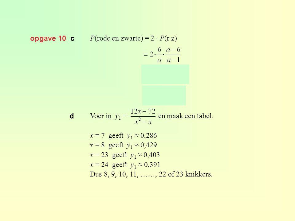 opgave 10 c P(rode en zwarte) = 2 · P(r z) Voer in y 1 = en maak een tabel. x = 7 geeft y 1 ≈ 0,286 x = 8 geeft y 1 ≈ 0,429 x = 23 geeft y 1 ≈ 0,403 x
