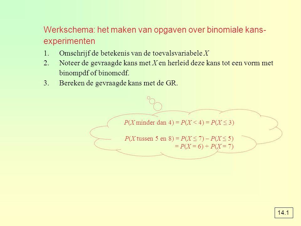 Werkschema: het maken van opgaven over binomiale kans- experimenten 1.Omschrijf de betekenis van de toevalsvariabele X 2.Noteer de gevraagde kans met