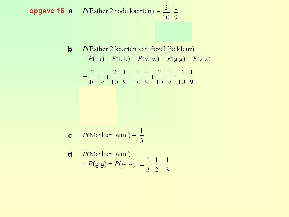 opgave 15 a P(Esther 2 rode kaarten) P(Esther 2 kaarten van dezelfde kleur) = P(r r) + P(b b) + P(w w) + P(g g) + P(z z) P(Marleen wint) = P(Marleen w